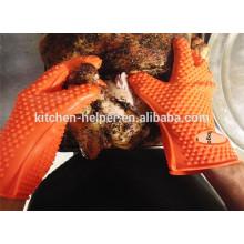 Cocina al por mayor de encargo que cocina los mejores guantes del Bbq de la parrilla / guante del Bbq del horno de la parrilla del silicón / mitón del horno