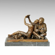 Eastern Statue Mother-Daugther Relax Bronze Sculpture Tple-032
