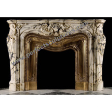 Marble Fireplace Surround with Stone Granite Limestone Sandstone Granite (QY-LS381)
