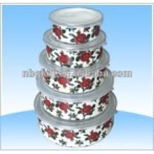 enamel ice bowl with PE lids& metel enamel mixing bowl
