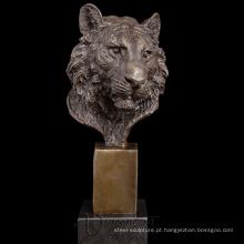 designer de decoração para casa ofício do metal escultura da cabeça do tigre de bronze