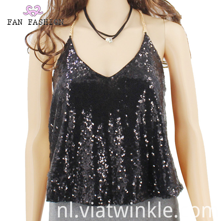 Sequin Halter Top