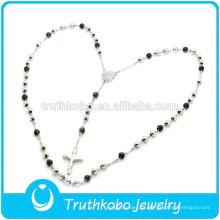 Collar de acero inoxidable de alta calidad TKB-N0006 con rosario y cruz católica Black & Sliver Two Tone