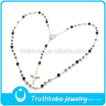 TKB-N0006 Rosary Bead&Catholic Cross Jewelry Black&Sliver Two Tone High Quality Stainless Steel Necklace