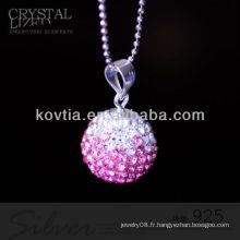 La plus nouvelle forme de balle de forme en cristal rose et pendentifs en argent 925