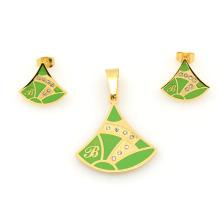 L'acier inoxydable or vert personnalisé définit des bijoux, des ensembles de conception de mode très bon marché en alibaba