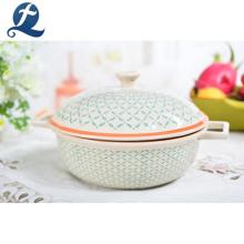 Kitchen Utensils Restaurant Glazed Ceramic Soup Serving Pot With Lids