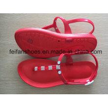 PVC rote Farbe Frauen Casual Sandalen, Softable Damen Mode Hausschuhe