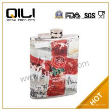 frasco de 6oz pantalla impresión de acero inoxidable frasco de la cadera tiro