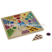Math Toy Wooden Clock Puzzle For Kids