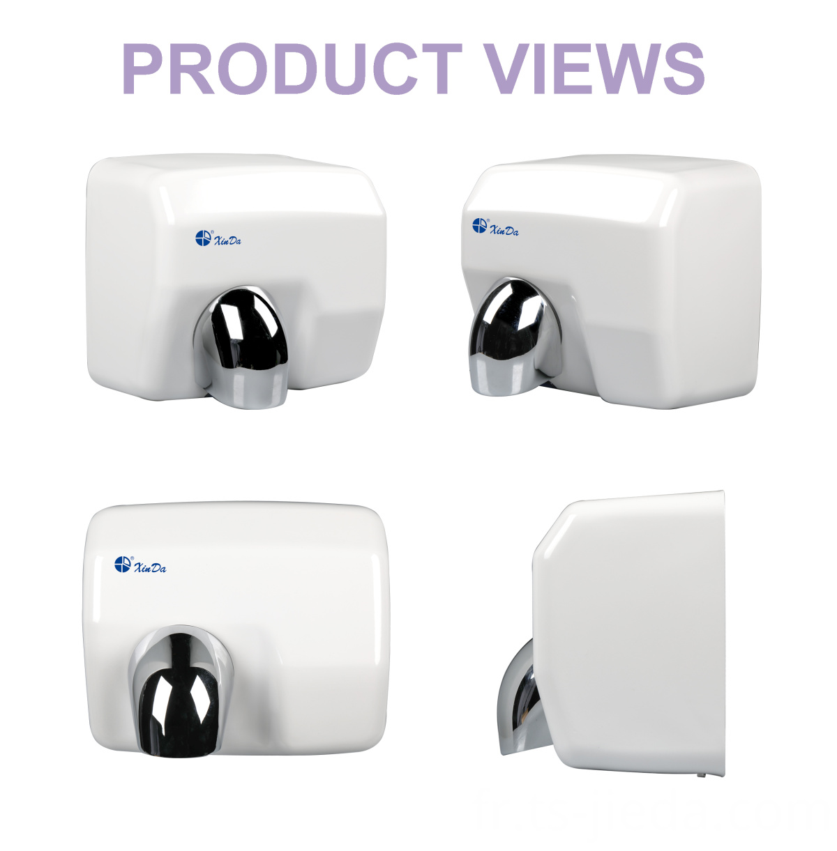 Powder white hand dryer with multi-directional airflow