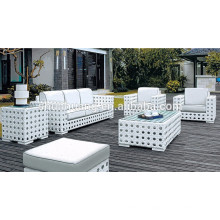 PE rattan outdoor furniture white wicker sofa chair