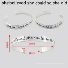 Engraved Words Custom Fashion jewelry Metal Bangle Bracelet