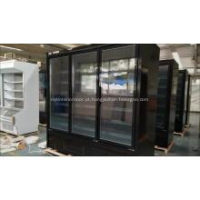 Congelador de alimentos congelados de supermercado comercial com porta de vidro