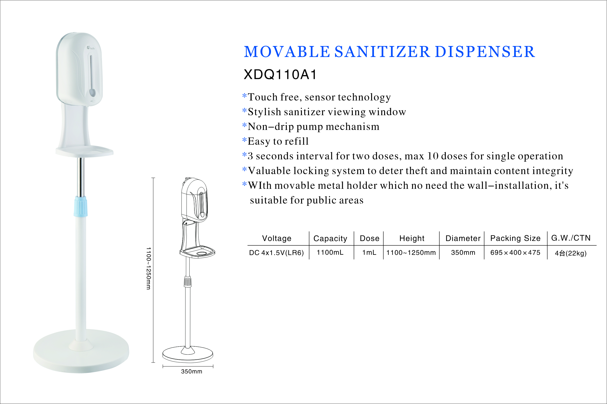 Sanitizer Dispenser stand for hotel