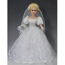 "18"" White Dress Porcelain Dolls"