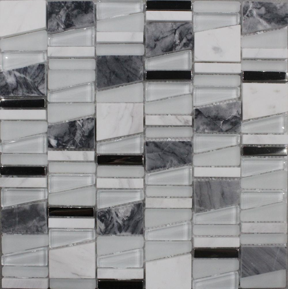 White Black Color Mixed Marble Mosaic