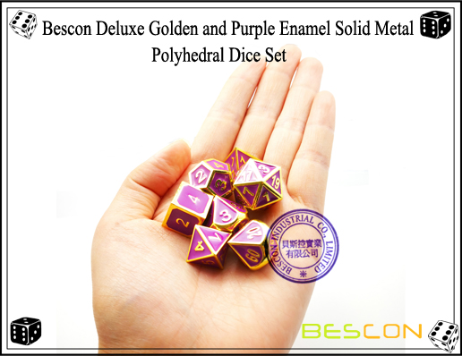 Bescon Deluxe Golden and Purple Enamel Solid Metal Polyhedral Role Playing RPG Game Dice Set (7 Die in Pack)-6
