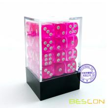 Bescon 12mm 6 Sided Dice 36 in Brick Box, 12mm Six Sided Die (36) Block of Dice, Translucent Pink with White Pips