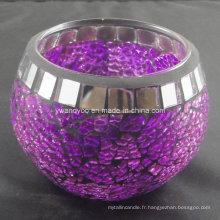 Bougeoir en verre mosaique violet