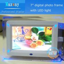 Quadro acrílico moldura digital de luz LED de 7 polegadas para meninas