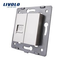 Accessoire pour prise murale gris Livolo à la base de la prise pour ordinateur Socket LAN RJ45 VL-C7-1C-15