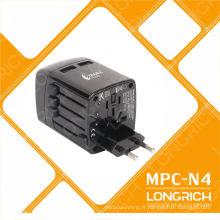 Adaptateur de chargeur de téléphone cellulaire LED avec prise de course multifonction pour 150countries N4