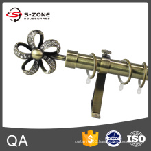 Mid east hot selling elegant single or double sliding a curtain rod with wall bracket