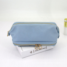 Factory Wholesale PU Leather Make up Toiletry Wash Bags Ladies Blue Makeup Brush Pouch Small Cosmetic Bag