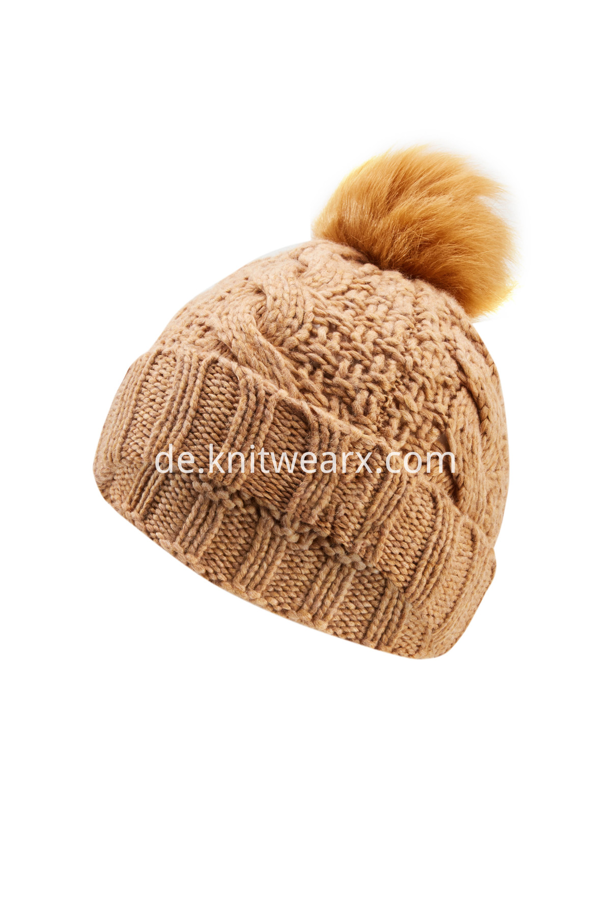 Girls' Winter Knitted Beanie Bobble Hat Faux Fur Ball Cap