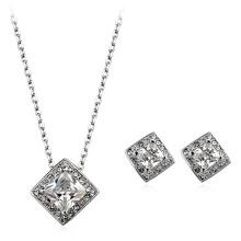 Ensemble bijoux italien en zircon rectangulaire plaqué rhodium avec un ensemble de bijoux en forme de zircon et bijoux