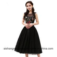 Schwarz Prom Kleider kurze Stickerei Blume Cocktailparty Kleid