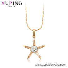 44973 Xuping gros bijoux 18k plaqué or forme étoile chaîne de pierres précieuses colliers