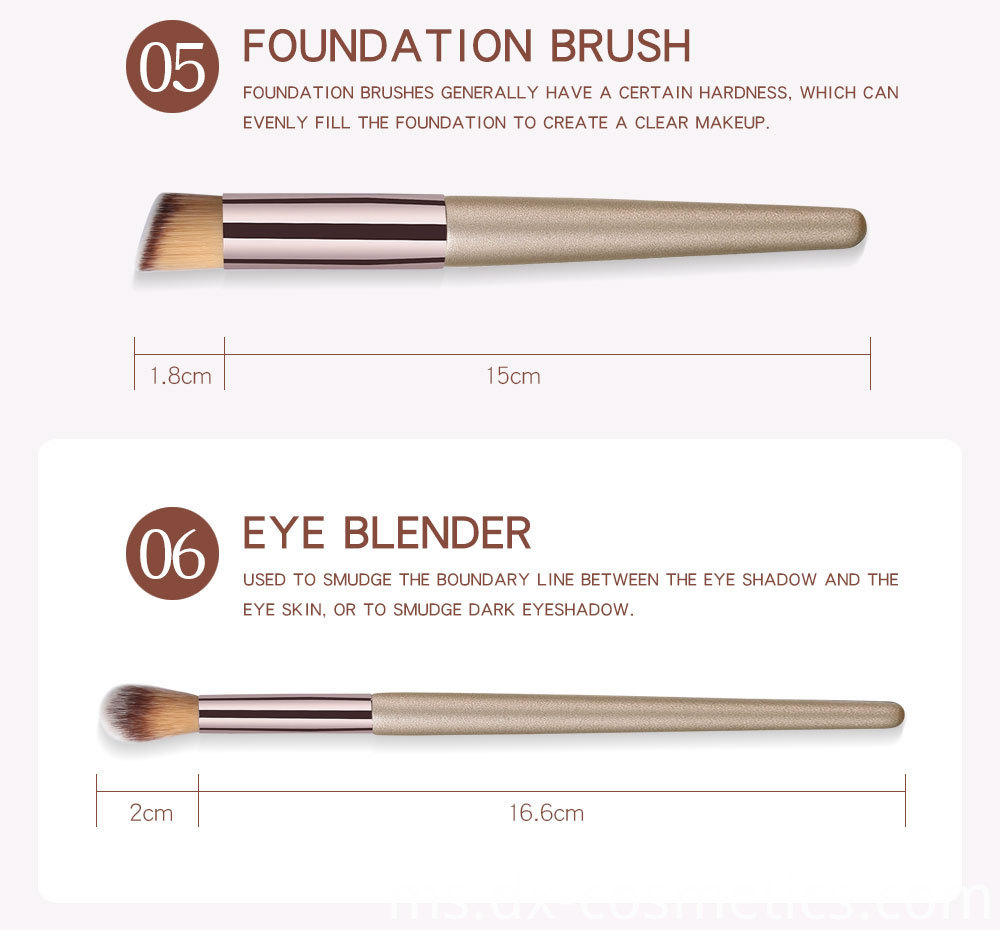 10 Piece Champagne Gold Makeup Brushes -3