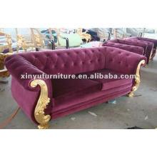 living room classical purple velvet 2 seater sofa A10004