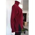 Top Plain Red Color Folded Turtleneck Pullover Oversized Cashmere Sweater Women