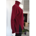 Топ Однотонный Красного Цвета Сложить Пуловер Водолазка Негабаритных Кашемировый Свитер Женщин