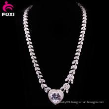 Luxury Zircon White Gold Wedding Necklace Design