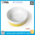 Gros jaune barre forme ronde en porcelaine pour animaux de compagnie bol