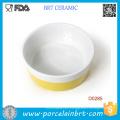 Wholesale Yellow Bar Round Shape Porcelain Pet Bowl