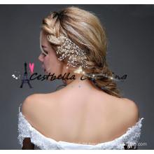 2016 Neuer Entwurf handgemachte goldene Perlenlegierungs-Kopfstückhochzeitsbrauthaarstifte Haarzusätze