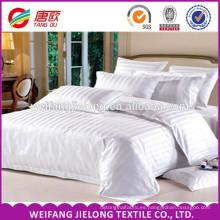 tela impresa caliente de la raya del satén de la venta el 100% / sistema blanco de cuatro lechos del hotel de la cama de buen precio buenas, algodón 100% satén de los 40s 250tc