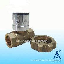 Robinet à boisseau sphérique laiton fermant à clé magnétique (Fv-01)