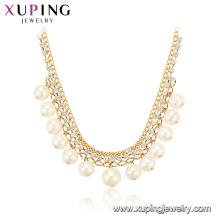 44258 Gros fantaisie femmes bijoux élégant style simple conception plaqué or collier de perles de cuivre
