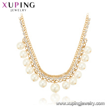 44258 Wholesale fancy women jewelry elegant style simple design gold plated copper pearl necklace