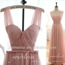Dress Design Real Photos A-line Floor Length Chiffon Hot Pink 2014 New Model Evening Dress DE306