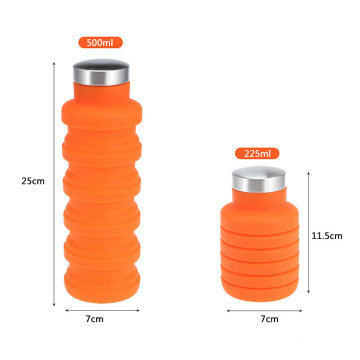 Wholesale Gym 500ml Silicone Stainless Steel Cover Folding Drinking Collapsible Water Bottle