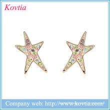 Custom Star stud earring top design earring jewelry fancy design gold earring