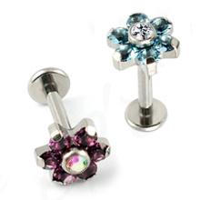 Titanium Cubic Zircon Flower Body Piercing Jewelry Lip Ring Labret