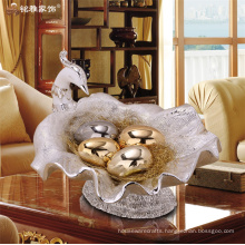 Gorgeous designs home decoration pieces custom resin peacock fruit bowl furit tray for christmas